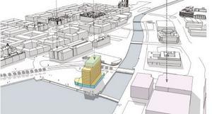 Det nya hotellet är tänkt att ligga vid Selångersåns mynning. Illustration: White Arkitekter