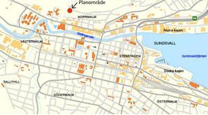 Planområdets läge i förhållande till resten av Sundsvall