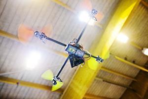 Quadcoptern drivs av fyra motorer.