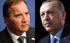 Sveriges statsminister Stefan Löfven (S) och Turkiets president Recep Tayyip Erdoğan. Foto: Pontus Lundahl/TT och Murat Cetinmuhurdar/AP Photo