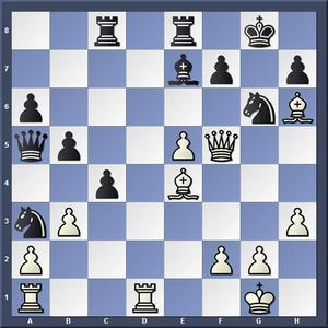 Lösning: 1.Dxf7+ Kxf7 2.Ld5.