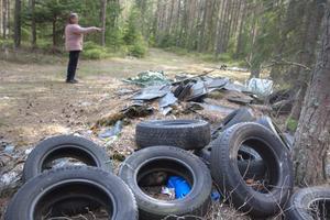 Dumpade däck är vanliga i  skogarna.