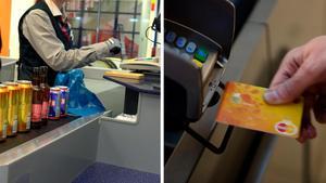 Viktoria tackar den kassörska som sprang ikapp henne och lämnade tillbaka det tappade kreditkortet. Bilder: Hasse Holmberg/TT / Vilhelm Stokstad/TT