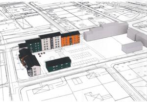 AB Tunabyggens förslag till bostadshus på Läroverksvallen. Skiss: Tunabyggen