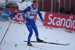 IFK Moras Gustaf Berglund spurtar i H 19-20. Han vann första distansen i finalen av Scandic cup.