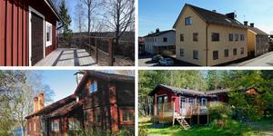 Ett montage med några av de hus som finns med på Klicktoppen för vecka 14, sett till de hus i Dalarna som fått flest klick på bostadssajten Hemnet under förra veckan.
