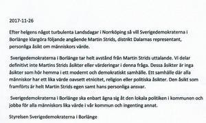Styrelsen för SD Borlänge har antagit ett uttalande, som publiceras på Facebook.