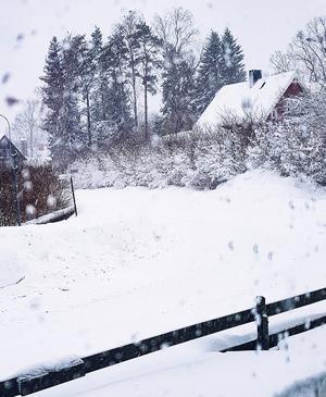 Anna Disenmark i Hallstavik fångade den här snövyn på söndagsförmiddagen. Bilden är tagen från Mariavägen ut mot Birgittavägen. Foto: Anna Disenmark