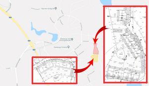 På den gulmarkerade tomten ska det byggas två radhus med fyra lägenheter i varje. På den röda tomten ska det byggas två radhus, ett med 5 och ett med 6 lägenheter samt ett parhus med två lägenheter. Totalt blir det alltså 21 nya bostäder. Karta: Google maps/LT