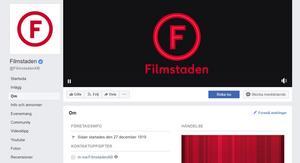 Så här ser det ut på Facebook, där den nya loggan har börjats använda. Under 2019 kommer skyltarna på biograferna att bytas ut. Bild: skärmdump