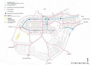 Kartan visar vilka befintliga stråk som bör utvecklas och var det bör skapas nya gång- och cykelstråk, cirkulationsplats, busshållplatser och parkering. Karta: Södertälje kommun.