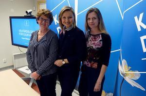 Mona Hammarstedt, Ebba Bush Thor och Liza-Maria Norlin på Sundsvalls sjukhus under torsdagen.