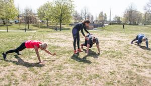 Bergsklättrare. En pulshöjande övning som stärker bålmuskulaturen och får upp rörligheten.