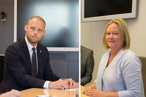 Bino Drummond (M), kommunstyrelsens ordförande och Ulrika Falk (S), oppositionsråd i Norrtälje, är oense om hur kommunen ska bli tryggare.