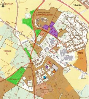 De grönmarkerade delarna är den mark som Säters kommun tycker är lämplig för framtida industrier eller bostäder i Gustafs.
