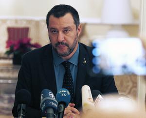 Ledaren för det italienska partiet Lega, Matteo Salvini, under ett besök i Warszawa. Han vill bygga en