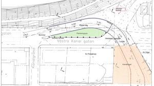 Skissen visar hur nya tunnelinfarten till Kringlan ska se ut och Västra Kanalgatan som får en ny vändplan. En plantering avskiljer gatan den från nya infarten som svänger ner under vändplanen. Nere i högra hörnet ses nya Kanaltorget som ska anläggas där det tidigare var en markparkering och de träd som står där i dag ska behållas. Överst i bild ses kanalen och strax utanför bildens nederkant ligger Köpmangatan. Skiss: Södertälje kommun