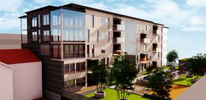 Detaljplanen för kvarteret Bryssel drog ut på tiden och just nu inväntar HSB bygglov för det planerade flerfamiljshuset. Skiss: Arkinova Arkitektur