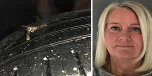 Brittis Hagert från Harka fick en fotangel i sitt däck i helgen. Foto: Privat