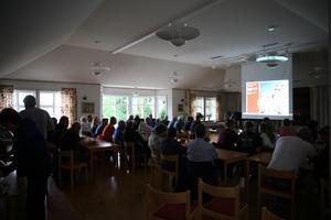 Trafikverket höll informationsmöte för boende i trakten på församlingshemmet i Gustafs.