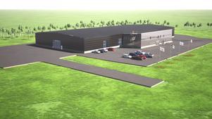 Den nya fabriken i Timrå kommer att stå klar i maj 2020. Bild: Pressbild.