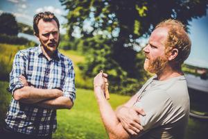 Daniel Norlindh och kollegan Peter Lincoln hoppas kunna ha gårdsförsäljning direkt från bryggeriet i framtiden. Foto: Edis Potori