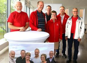 Glada miner hos socialdemokraterna i Askersund inför slutspurten fram till valet. Från vänster: Johan Calais, Per Eriksson, Ronny Larsson, Siv Ahlstrand, Jan-Olov Carlsson och Rolf Karlsson.
