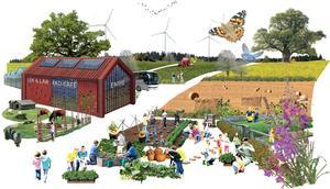 I strukturplanen för Lina lanserar kommunen idén om att skapa en jordbrukspark som ska bidra till hållbar utveckling av stadsnära jordbruk med såväl ekonomiska som ekologiska och sociala intressen. Man tänker sig kommunal grönsaksodling till kök inom skola och omsorg såväl som arbetsrehabilitering och turistmål.  Skiss: Södertälje kommun