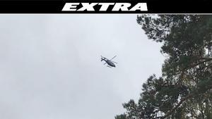 Polisen sökte efter rymlingen med bland annat polishelikopter och hundpatruller. Foto: Läsarbild