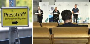 Folkhälsomyndigheten håller pressträff idag om coronaläget.  Foto: Fredrik Sandberg / TT och Claudio Bresciani / TT.