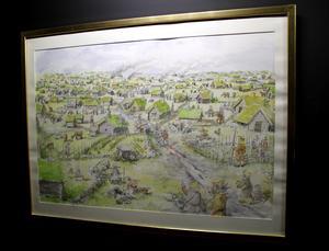 Tavla av hur byn kunde ha sett ut för 500 år sedan. Målad av Bo Svärd.