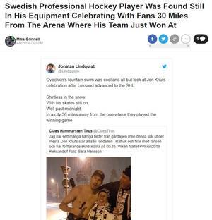 Barstool Sports uppmärksammade Jon Knuts spektakulära firande av SHL-platsen.