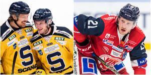 Marcus Oskarsson och Jacob Spångberg, SSK, ställs mot Västerviks Gabriel Desjardins på onsdagskvällen. Foto: Bildbyrån