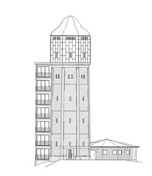 Så här kommer det tillbyggda vattentornet att se ut. Illustration: Bofeldt arkitektur och design