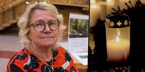 Anna-Lena Söderlund Törnell, från Toftbyn utanför Falun,  är riksordförande för nätverket Vimil, vi som mist någon mitt i livet. Foto:  Fredrik Sandberg, TT, och Karin Sundin.