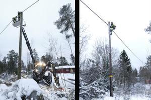 Linjemaskinen kommer väl till pass när det behövs två montörer för att få fast elkabeln i den nya stolpen. Några meter bort klättrar Anders Larsson för egen maskin uppför en stolpe där elkabeln behöver fästas ordentligt.