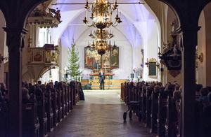 Från första till sista bänkrad satt publiken bänkad i Köpings kyrka  för att lyssna på den finske artisten Joel Hallikainen.