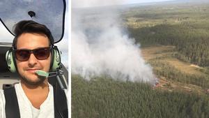 Brandflygaren Sebastian Soltani och hans medpilot Allan Ahlfors flög i måndags över branden vid Skommarmossen. Redan när de lyfte från Västerås såg de röken från lågorna.Foton: Sebastian Soltani