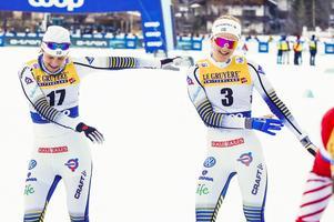 Ida Ingemarsdotter och Stina Nilsson bjöd på dans efter framgångarna i Toblach. Foto: Terje Pedersen/TT