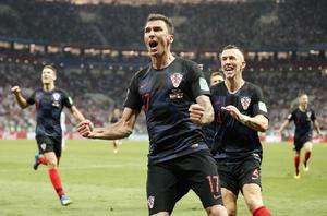 Kroatiens matchhjälte Mario Mandzukic efter målet som skickade Kroatien till VM-final. Foto: Frank Augstein/TT