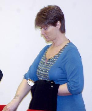 Carina Frödin vid rättegången i Falu tingsrätt, som dömde henne till livstids fängelse.