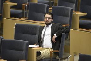 Jimmie Åkesson och hans parti Sverigedemokraterna kan glädjas åt hur Moderaterna, Kristdemokraterna och kanske Liberalerna öppnar för ett samarbete med SD. Foto: Carl-Olof Zimmerman/TT