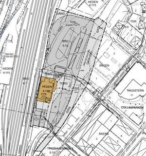 Den plankarta som nu är ute för granskning. Den bruna biten är själva stationshuset inklusive den tillbyggnad som tillåts om planen godkänns.Bild: Bollnäs kommun