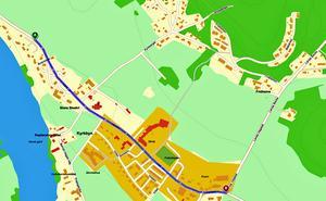 Den planerade sträckningen av en ny gång- och cykelväg genom Stora Skedvi.