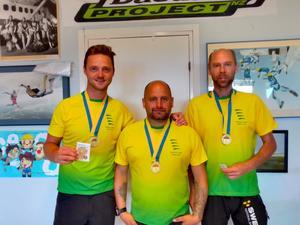 Team Sportia, Fallskärm Gefle, blev svenska mästare i CF-2 sekvens 2019, fr v Oskar Klahr, Andreas Frisk och Rickard Örjas, video, foto Narit Pidokrajt.