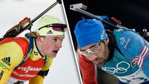 Sebastian Samuelsson och Martin Fourcade tycker olika om Ryssland.