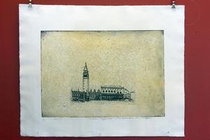 En av pappans teckningar från Italienresan, med lager av Bie Erenurm.