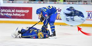 Jacob Markström fick kliva av i slutet av den andra perioden efter att ha kolliderat med en finsk spelare. Bilden är ett montage.