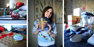 Jessica Forsling slår in alla sina julklappar med återvunna material.