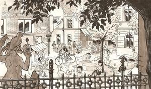 Gustaf Lords illustration med en vision om hur Börsplan skulle kunna bli.